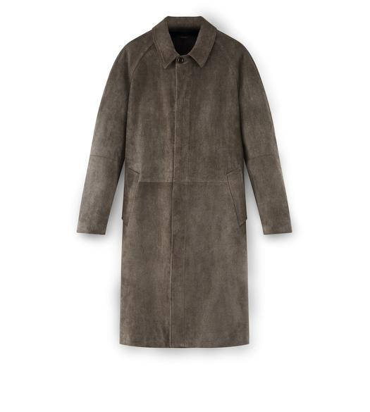 SUEDE LONG SARTORIAL COAT