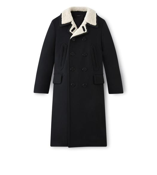 LONG PEACOAT WITH SHEARLING