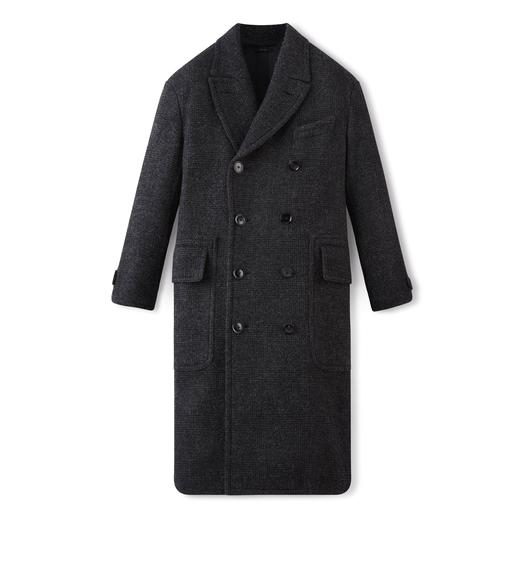 DOUBLE BREASTED BOUCLE CHECK COAT