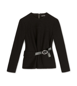 BLOUSON EFFECT TOP WITH LEATHER BELT