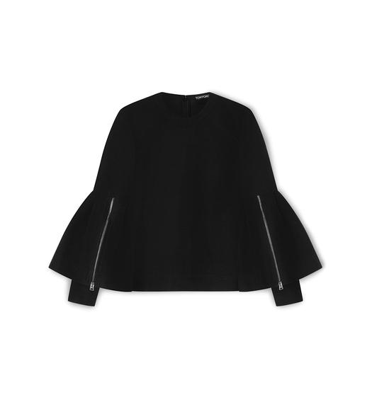 SILK COTTON FAILLE DOUBLE BELL SLEEVE CREW-NECK TOP
