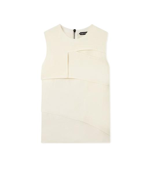 HEAVY BASKETWEAVE SLEEVELESS LAYERED TOP