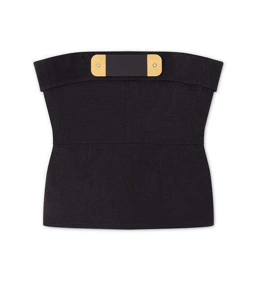 HEAVY BASKETWEAVE BUSTIER TOP WITH JEWELRY DETAILS