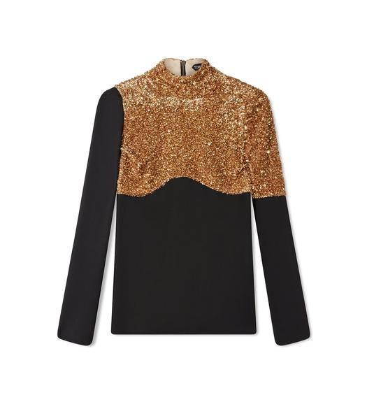 CUP SEQUINS MIXED EMBROIDERY AND LIGHT TEXTURED VISCOSE LONG-SLEEVE MOCK NECK TOP