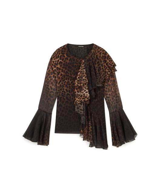 JAGUAR SILK RUFFLED LONG SLEEVE TOP