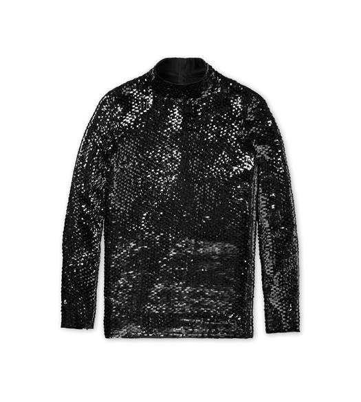 SEQUIN EMBROIDERED MOCK NECK TOP