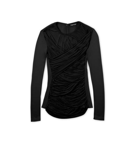RUCHED TULLE CREWNECK TOP WITH LEATHER TRIM