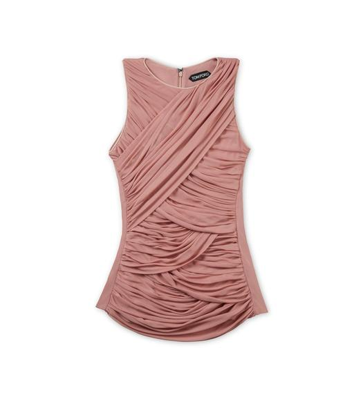 RUCHED TULLE TANK TOP WITH LEATHER TRIM