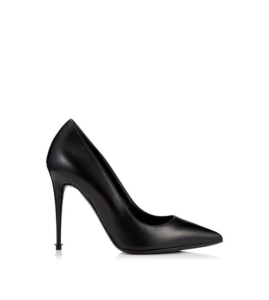 LACQUERED STACK HEEL PUMP