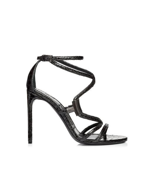 GLOSSY METALLIC PYTHON T BAR STRAPPY SANDAL