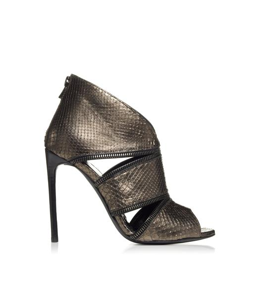 ZIP CUT OUT PYTHON OPEN TOE BOOTIE
