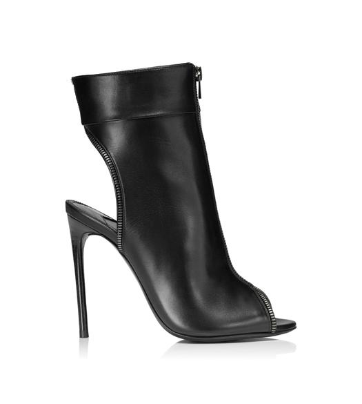 LEATHER PEEP TOE ZIP BOOTIE