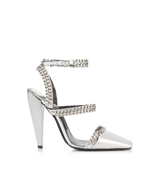 METALLIC SQUARE TOE CAP CHAIN PUMP