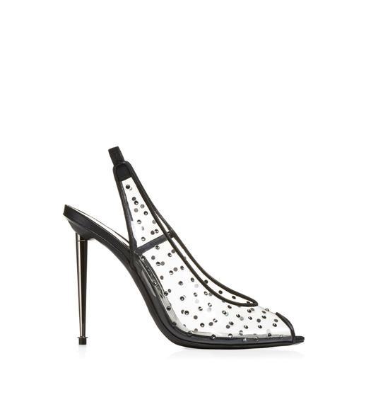 CRYSTAL SLINGBACK BLACK PUMP