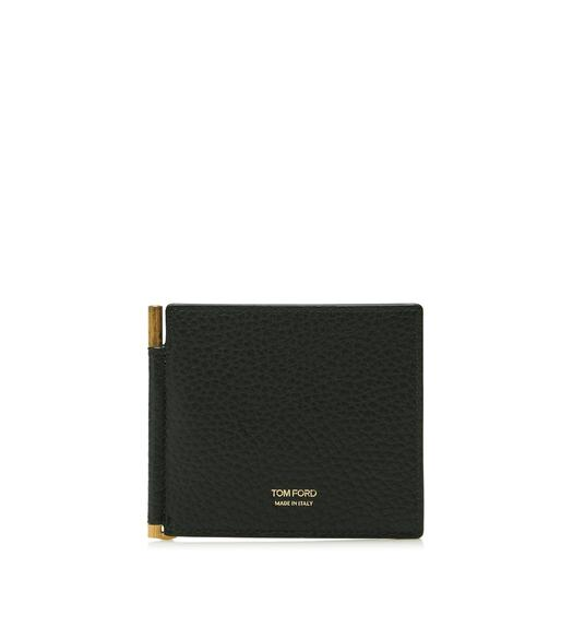 GRAINED LEATHER MONEY CLIP WALLET