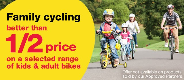 Better than half price on a selected range of kids and adult bikes