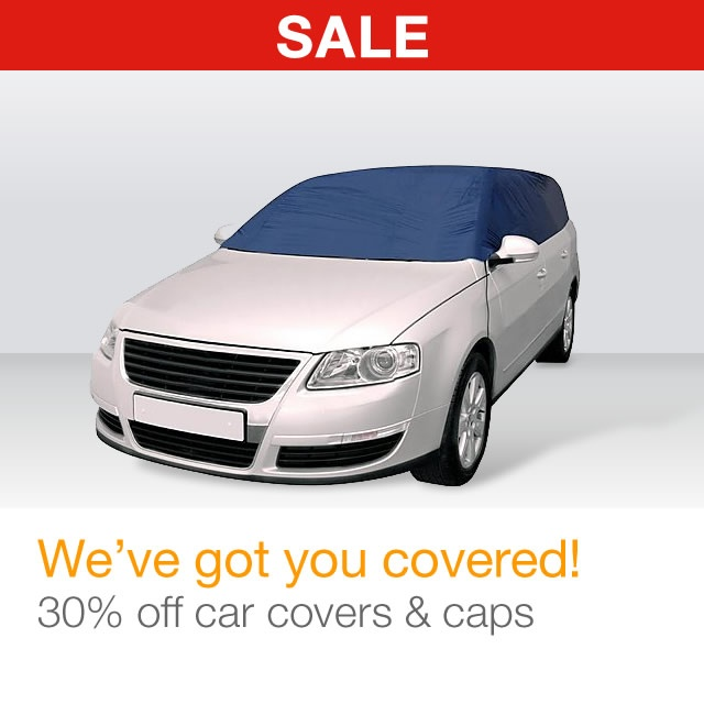 30% off car covers & caps