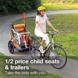Half price child seats and trailers