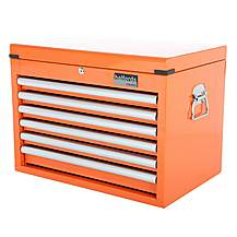 image of Halfords Industrial 6 Drawer Ball Bearing Tool Chest - Orange