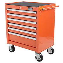 image of Halfords Industrial 6 Drawer Ball Bearing Tool Cabinet -Orange