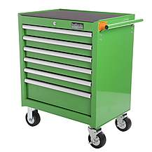 image of Halfords Industrial 6 Drawer Ball Bearing Tool Cabinet - Green