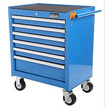 image of Halfords Industrial 6 Drawer Ball Bearing Tool Cabinet -Blue