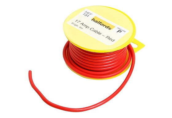 Halfords 17 Amp Cable Red HEF731