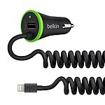 image of Belkin 2.4 Amp LTG & USB Car Charger