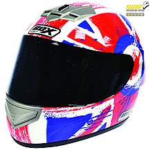 image of Box Jack Red & Blue Motorcycle Helmet B1JRBS - Small