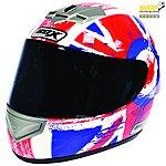 image of Box Jack Red & Blue Motorcycle Helmet B1JRBL - Large