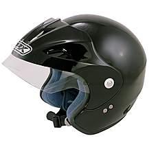 image of Box Open Face Black Motorcycle Helmet JBXL - X Large