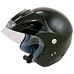 image of Box Open Face Black Motorcycle Helmet JBXL - X Large