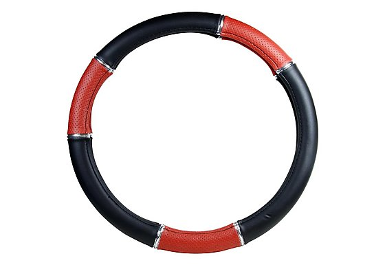 Halfords Steering Wheel Cover - Black/Red