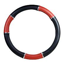 image of Halfords Steering Wheel Cover - Black/Red