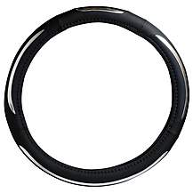 image of Halfords Steering Wheel Cover - Black/Silver Stripe