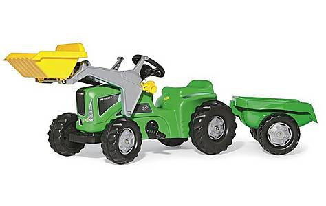 image of Rolly Kiddy Futura Tractor With Trailer & Frontloader Pedal Ride On