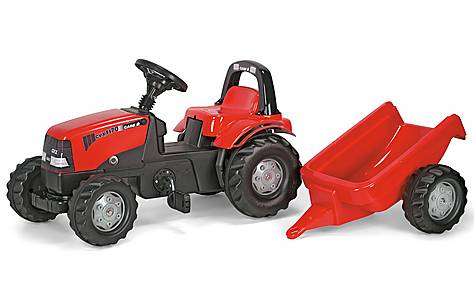 image of Rolly Kid Case CVX 1170 Tractor With Roll Bar & Trailer Pedal Ride On