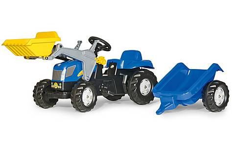 image of Rolly Kid Holland T7040 Tractor With Frontloader & Trailer Pedal Ride On