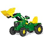 image of Robbie Toys John Deere 6210R Tractor With Frontloader Pedal Ride On