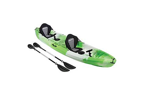 image of Bluewave Double Sit On Top Fishing Kayak, Green & White