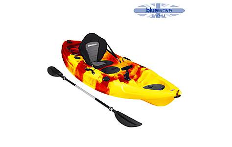 image of BlueWave Sit On Top Single Fishing Kayak, Red and Yellow