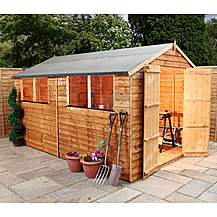 image of 12ft X 8ft Super Saver Overlap Apex Shed With Double Doors + 4 Windows (10mm Solid Osb Floor)