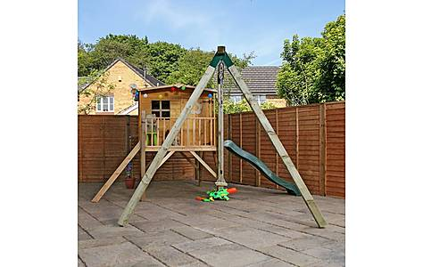 image of 13ft X 12ft Tongue & Groove Tower Playhouse With Slide And Activity Set