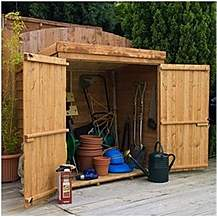 image of 4ft 8in x 3ft Super Saver Overlap Pent Mower Shed With Double Doors