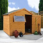 image of 6 x 8 Tongue And Groove Reverse Apex Shed With Single Door + 1 Window