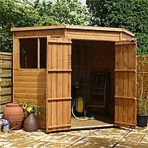 image of 7 x 7  Budget Tongue And Groove Corner Shed With Double Doors + 2 Windows