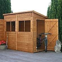 image of 8 x 4 Pent Premier Tongue & Groove Apex Shed With Single Door + 4 Windows