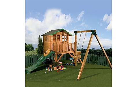 image of Tulip Tower Playhouse, Slide & Swing 5ft X 7ft