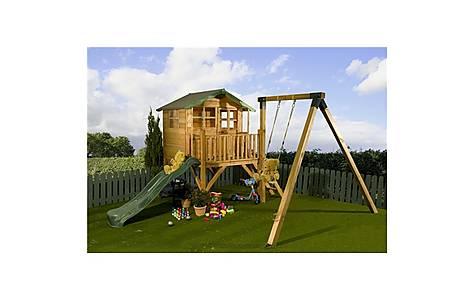 image of Poppy Tower Playhouse, Slide & Swing 5ft X 7ft