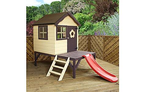 image of Snug Playhouse 4ft X 4ft With Tower And Slide